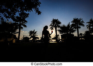 silhouette of a girl with cocktail on a background of palm...