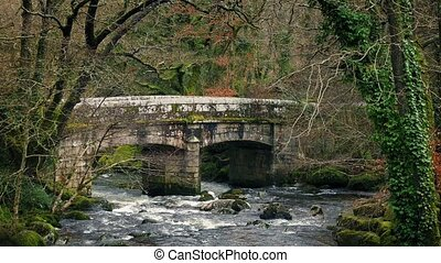 Stone Bridge In Wild Countryside - Pretty rural scene of old...