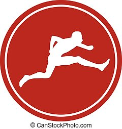 icon running hurdles young male athlete white silhouette red...