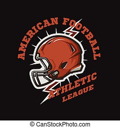American football helmet emblem. Athletic League