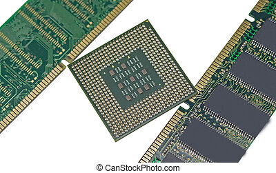 DDR RAM memory module and Modern CPU isolated on white...