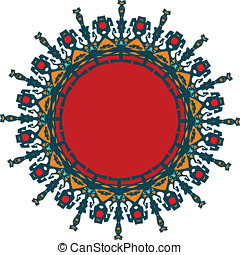 Refined ornament in flat colors - Modern ornament with...
