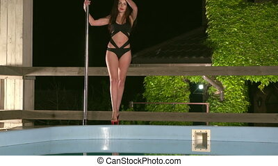 Sensual pole dance performance at night in the summer. Young...