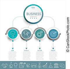 Infographic template with 3D circles paper label. - Vector...
