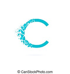 ?????? - Letter C logo. Triangle Crumbling to pieces. Blue...