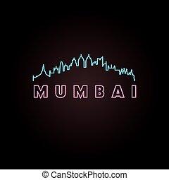 Mumbai skyline neon style. Vector illustration.