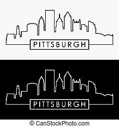 ?????? - Pittsburgh skyline. Linear style. Editable vector...