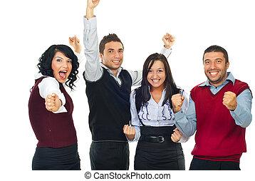 vencedores, excitado, pessoas