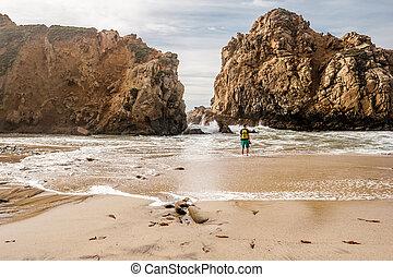 Man at Pfeiffer Beach, California - Man at Pfeiffer Beach,...