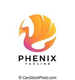 Fire Bird Phoenix Logo - The logo of a fire bird in bright...