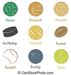 Set of sports equipments. - Set of sports equipments for...