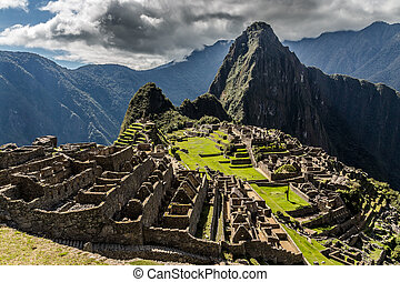 Panoramic view from the top to old Inca ruins and Wayna...