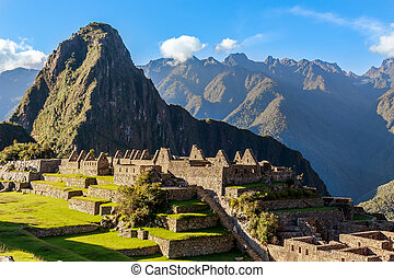 View from the top to old Inca ruins and Wayna Picchu, Machu...
