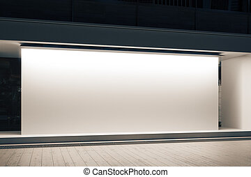 Shopfront with white banner - Empty glass shopfront with...