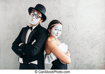 Two mime actors performing in studio. Pantomime theater...
