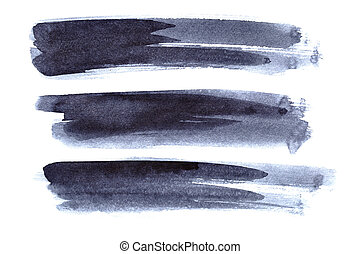 Set of grey ink brush strokes isolated on the white...