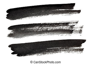 Set of black ink brush strokes isolated on the white...