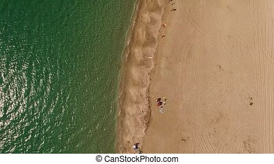 AERIAL VIEW. Sandy Beach In Crimea - AERIAL VIEW. The shot...