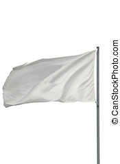 Isolated white flag - Isolated White flag waving on the wind