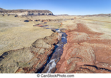 creek at Colorado foothills - aerial view - northern...