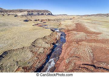 creek at Colorado foothills - aerial view - northern...