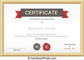 Certificate template and gold border. education certificate template. vector template.