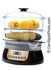 Vegetables in steamer - Fresh vegetables in electric...