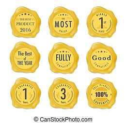 Set of wax stamp. Stamp on gold Wax Seal Isolated on White. Business Concept. vector stock.