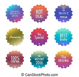 Print - Set of promotion and maketting label. Badge design....
