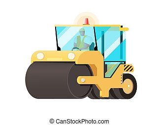 Asphalt compactor in flat style. Vector icon of road roller...