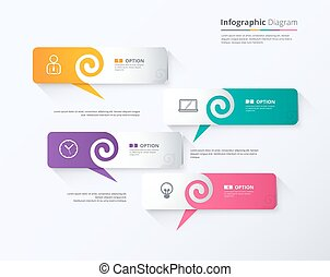 Balloon speech infographic template. vector stock.