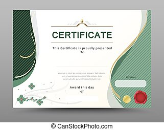 Green certificate template with gold ribbon decorate. vector illustration