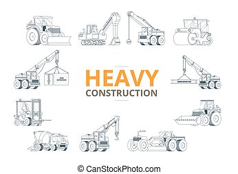 Heavy construction machine background. vector machinery set.