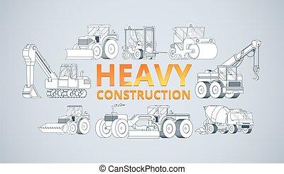 Heavy construction machine background. vector machinery set.