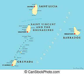 Barbados, Grenada, Saint Lucia and Saint Vincent political...