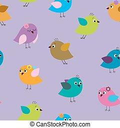 Seamless texture with cartoon birds on a lilac background
