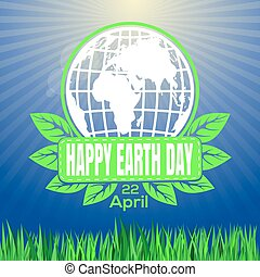 Happy Earth Day logo against the backdrop of sunlit green...
