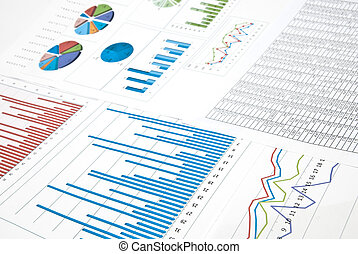 Finances - Business still-life with diagrams, charts and...