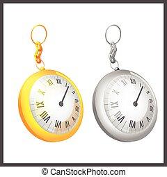 Gold Silver Couple Pocket Clock Vector