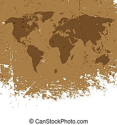 Grunge world map background. Abstract old aged geography vector background. Isolated edge to white.