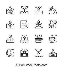 Set line icons of seed and seedling isolated on white....