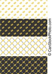 Brass Knuckles or Knuckle Duster Seamless Pattern Gold Color Set