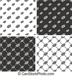 Brass Knuckles or Knuckle Duster Big & Small Seamless Pattern Set