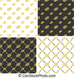 Brass Knuckles or Knuckle Duster Big & Small Seamless Pattern Gold Color Set