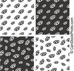 Brass Knuckles or Knuckle Duster Big & Small Aligned & Random Seamless Pattern Set