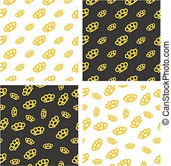 Brass Knuckles or Knuckle Duster Big & Small Aligned & Random Seamless Pattern Gold Color Set