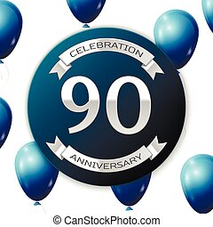 Silver number ninety years anniversary celebration on blue...