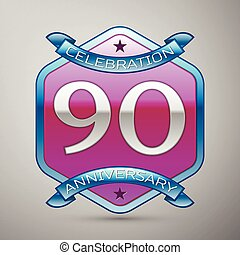 Ninety years anniversary celebration silver logo with blue...