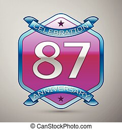 Eighty seven years anniversary celebration silver logo with...