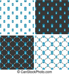 Blue Recycling Trash Can for Paper Waste Big & Small Seamless Pattern Set